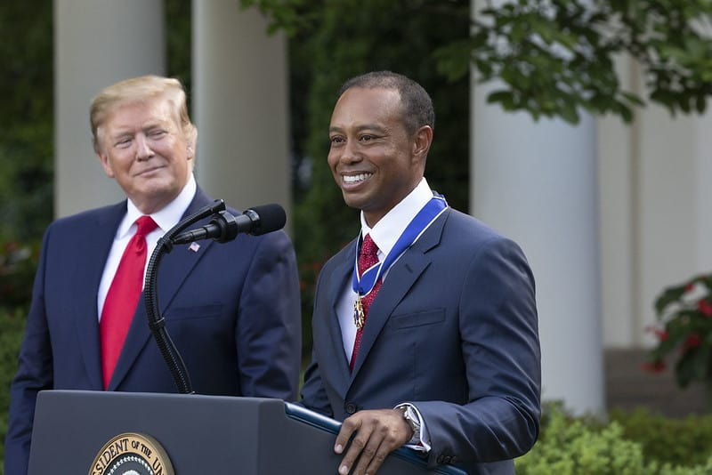 Tiger Woods Wearing his Rolex Sea-dweller with President Trump