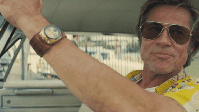 Brad Pitt's shiny Citizen 8110 Bullhead vintage watch on a thick brown leather strap in Once Upon A Time in Hollywood