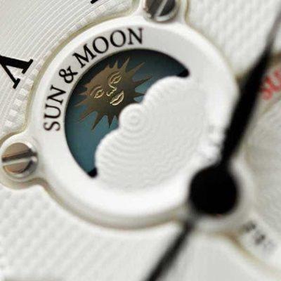 Orient FET0T002S0 sun moon face detail