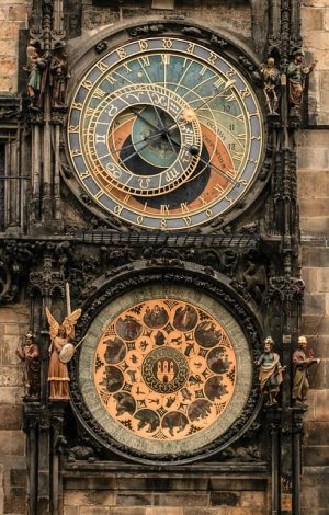 prague moon phase town clock